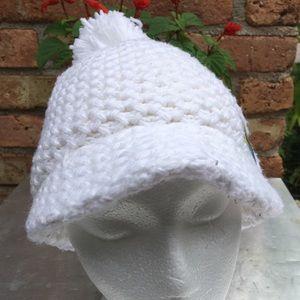 de90939f750 Nike Accessories - NIKE White Knit Pom Pom Winter Hat w  Brim